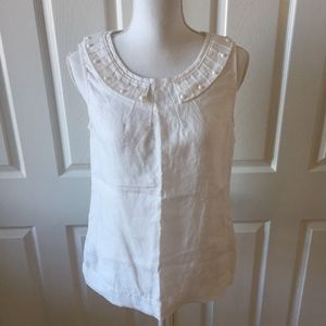 Boden White 100% Linen Beaded Sleeveless Top Women